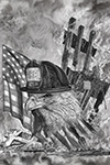 Wildlife;art;artwork;painting;drawing;Corel-Painter;bald-eagle;eagle;flag;patriotic;911;grayscale