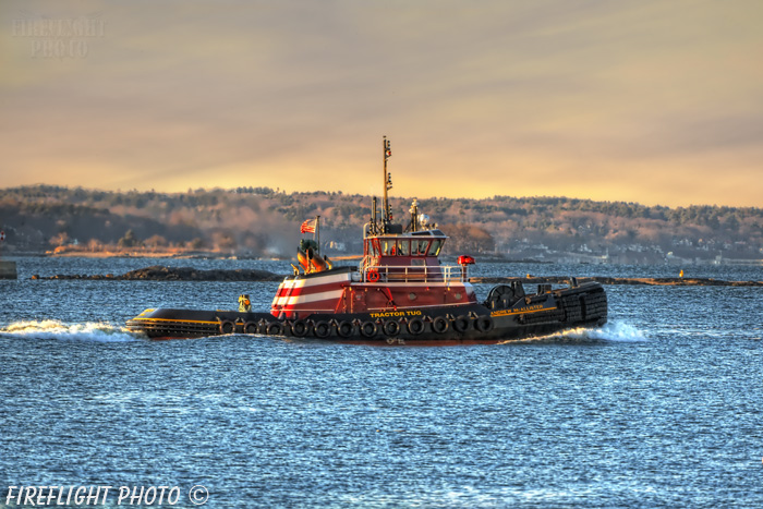 tug;tugs;boat;Portland;Maine;sunset;ocean;tractor;Photo to art;art;landscape;artwork
