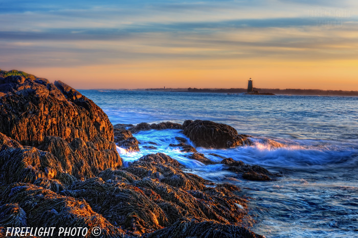 Lighthouse;Maine;Portsmouth;Whaleback;New Hampshire;Photo to art;art;landscape;sunset;rocks;ocean;building;artwork