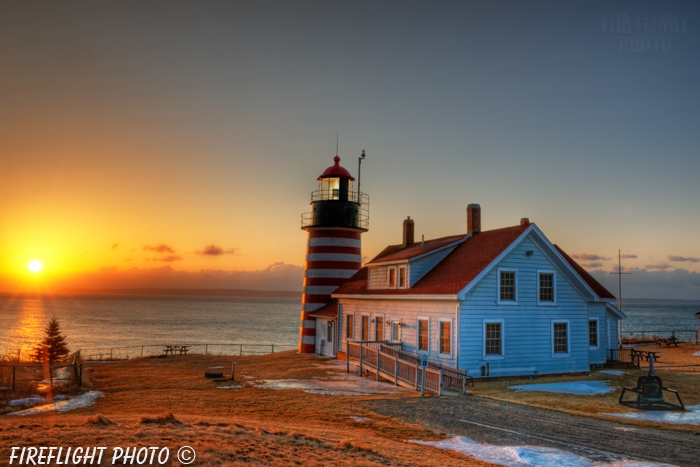Lighthouse;Maine;Lubec;Light;Headlight;West Quoddy;sunrise;ocean;Photo to art;art;landscape;building;artwork
