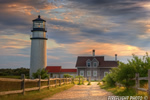 Lighthouse;Highland;North-Truro;Massachusetts;Light;Headlight;fence;sunset;Photo-to-art;art;landscape;building;artwork
