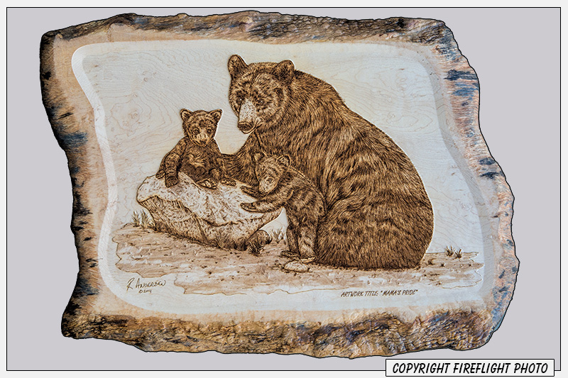 Pyrography Black Bear and Cubs